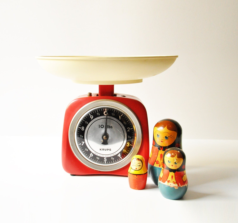 Vintage Red Krups Kitchen Scale Retro Made In Ireland