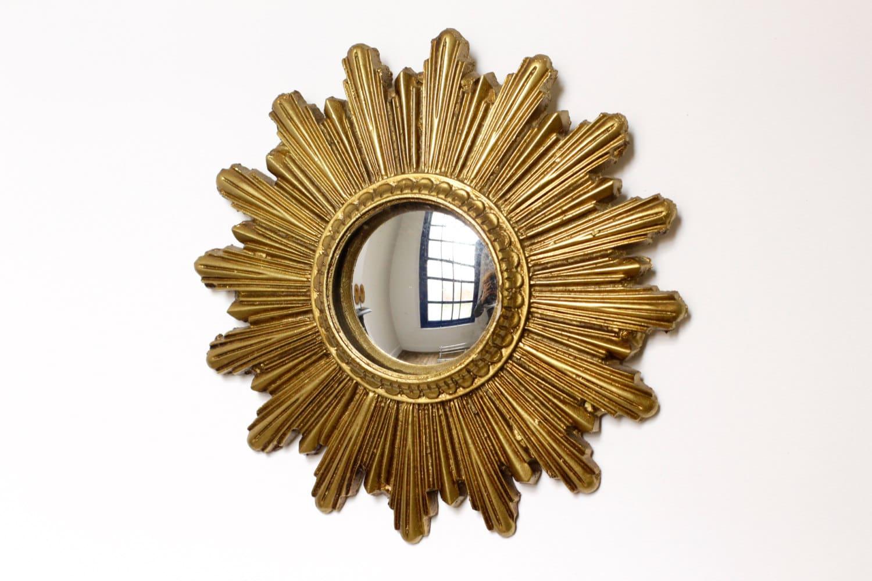 Small Vintage Gold Sunburst Mirror Convex Starburst Mirror