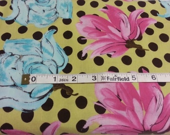100% cotton Quilting fabric by the 1/2 yard funky floral, bold, retro, yellow, pink, blue &  chocolate. large scale fun flower polka  dots