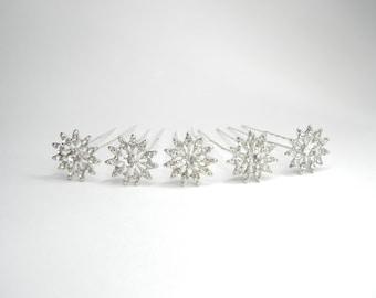 Rhinestone Hair Pins, Crystal Hair Pins, Bridal Hair Pins, Flower Hair Pins, Silver Hair Pins