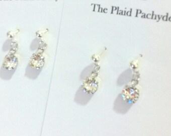 Swarovski crystal post drop earrings