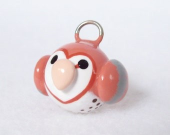 Cute Barn Owl Charm - Polymer Clay Charm for Charm Bracelets, Earrings, Cell Phone Strap