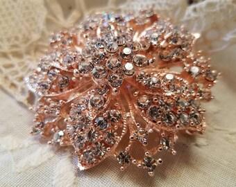 Rose Gold Tone Rhinestone Flat Back Embellishment Pin Clear Crystal Flower Broach Wedding Pink Rose Gold Brooch Bouquet DIY Sash Supply RGC1