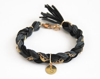Personalized braided bracelet, Initial bracelet with hand stamped charm, gold and black bracelet, boho gift for her