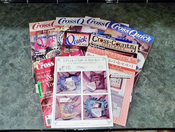 Items similar to on sale 10 cross stitch magazines quick for Country living magazine cross stitch