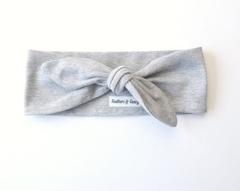 Top Knot Headband Adult , Headbands for Women, Knotted Jersey Headband, Retro Headband, Light Gray