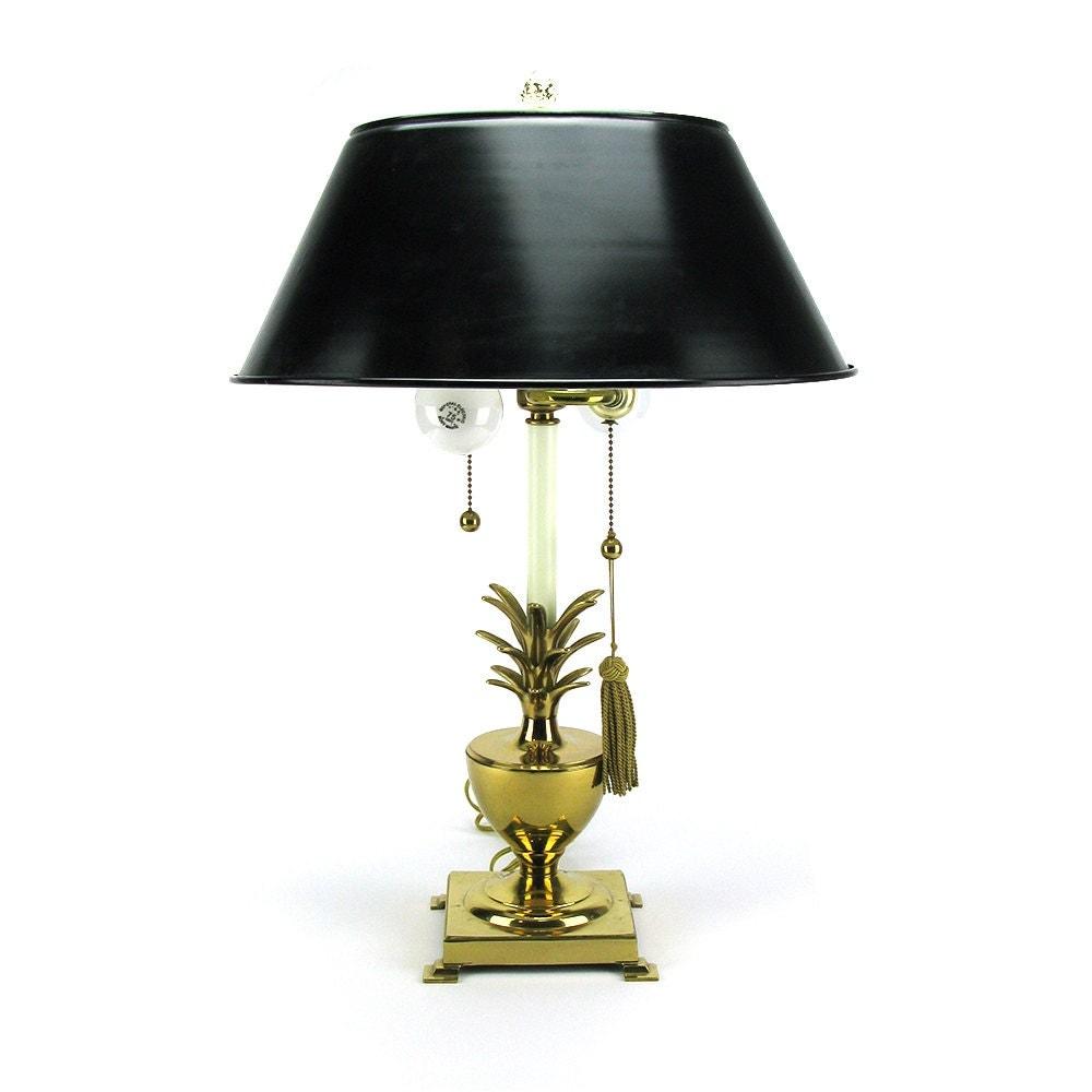Vintage Brass Pineapple Urn Lamp Gold Hollywood Regency