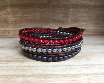 American Pride Bracelet - Red, White & Blue Bracelet, America bracelet, Triple Wrap Bracelet