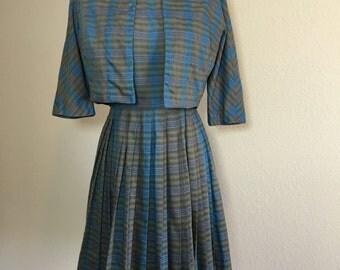 Vintage 1950's I. Magnin sleeveless plaid cotton blend dress w/jacket S