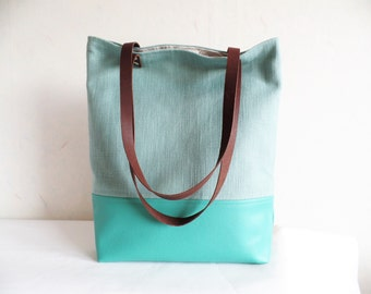 Mint green tote bag, Leather and canvas tote bag, Linen and cotton tote bag, Summer bag, Beach bag, Causal tote bag, Real leather handles