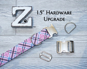 """Upgrade to 1.5"""" Collar Width, with SILVER Metal Hardware, Buckle OR Martingale Chain, extra wide dog collar"""