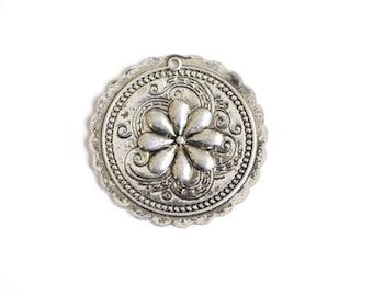 Large Round Pendant, Southwestern Flower Charm, 41 mm - 2 pieces