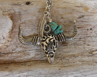 Western Cowgirl Necklace Steer Skull  Rodeo Western Jewelry Tribal Bohemian Necklace Steer Skull Feather Jewelry Southwest