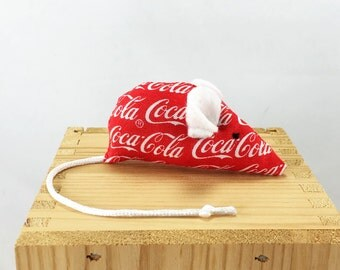Coca Cola Mouse Cat Toy, Valentines Day Cat toy, kitten toy, red white, Coke