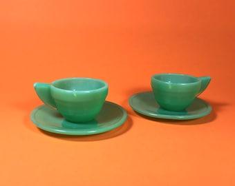 Akro Agate Glass Tea Set, Green, Set of 2, Art Deco, Children's Toy, 1930's