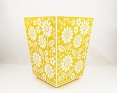 Goldenrod Waste Basket - Square Top - Mid-Century Hard Plastic -  Waste Basket With White Embossed Flowers - Mirra Cote Ind., USA -   1960s