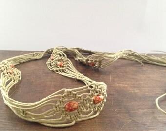 Vintage macrame belt Hippie Boho Adjustable Belt Vintage makrame belt Women accessory Wrap Belt Hippie Boho Chic