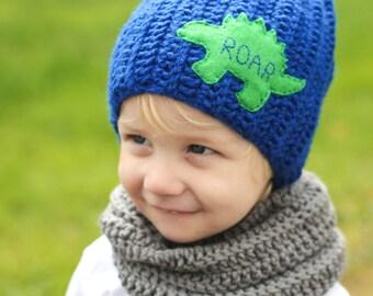 Dinosaur hat/ Dino Hat/ Boys Winter Hat/ Dinosaur/ Boys Hat/ Crocheted Hat/ Crochet/ Little Boys Hat/ Crocheted Beanie