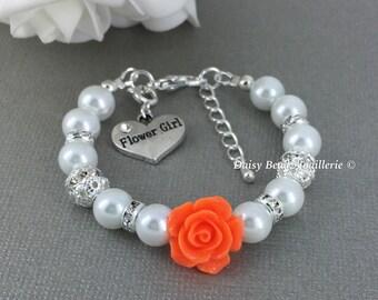 Flower Girl Charm Bracelet, Flower Girl Jewelry, Flower Girl Gift, Ivory Bracelet, Flower Girl Bracelet, Flower Bracelet, Orange Bracelet