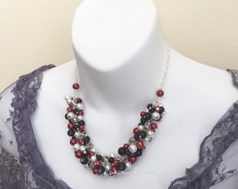 Black and Red Cluster Necklace, Bridesmaid Gift, Chunky Necklace, Valentine Gift, Red and Black Necklace, Valentine Necklace, Gift for Her