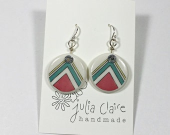 retro vintage ceramic earring // porcelain