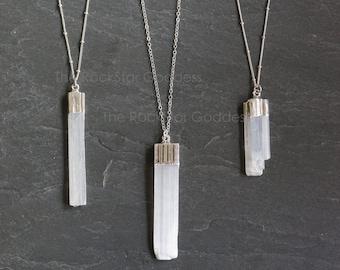 Selenite Necklace / Selenite Pendant / Silver Selenite Neckalce / Silver Selenite Jewelry / Selenite Wand / Gift for Her / Mother's Day Gift