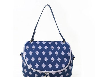 Navy Blue print Crossbody Messenger Shoulder Canvas Bag
