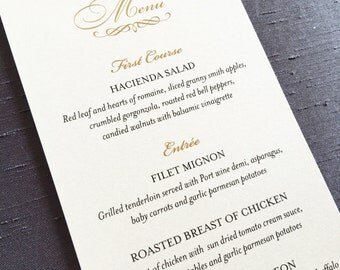 Menu Card // Dinner Card // Wedding Menu // Reception Stationery
