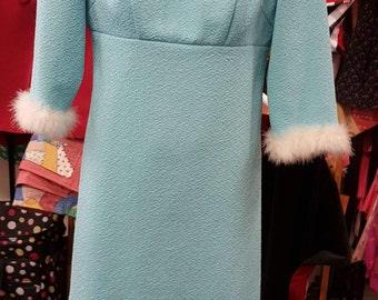 Vintage 60's dress, feather trim