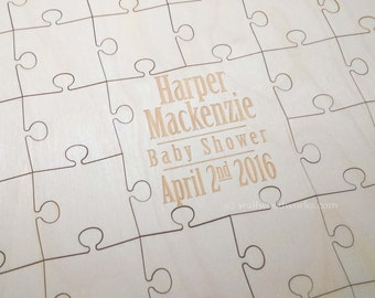 Baby Shower Puzzle Guest Book 32-400 Piece Baby Shower Gift, Guest Book Puzzle, Guestbook puzzle, Rustic, Laser Engraved