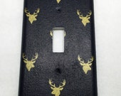 Navy and Gold Deer Fabric Single Light Switch Cover / Light Plate / Nursery Decor / baby Shower Gift / Room Decor / Antlers / Woods Theme