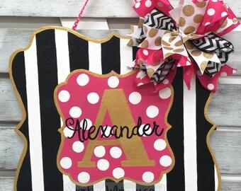 Wooden Door Hanger: Initial Door Hanger, Stripe and Polkadot Sign Front Door Sign Summer door Decoration Front Door Sign Mothers Day Gift