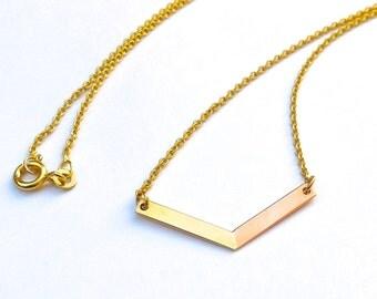 Chevron gold chain bicolor 333 gold