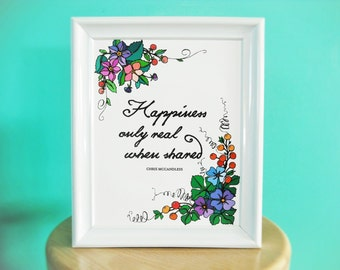 Into the Wild Floral Happiness Quote 8x10 Art Print Poster