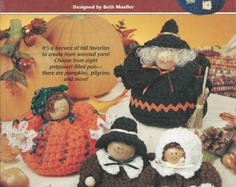 Crochet Pattern - PUDGY AUTUMN CHARACTERS - Annie's Attic - 8 Potpourri-Filled Pals - Pumpkins, Pilgrims, Halloween Witch, Crow, Scarecrow..
