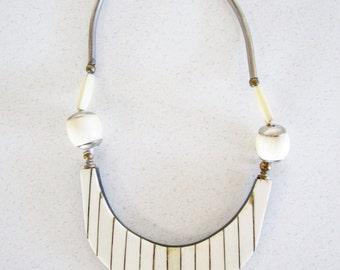 Bone Inlay Brass and Metal Bib Necklace Vintage Avant Garde