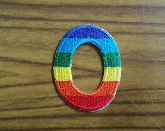Rainbow Alphabet Letter O Applique Embroidered Iron on Patch