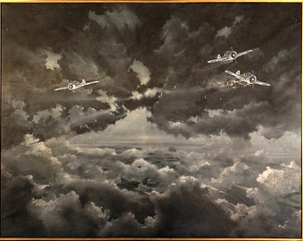 Stunning ca.1945 WWII US Fighter Planes in the Sky Oil Painting on Canvas w/Frame