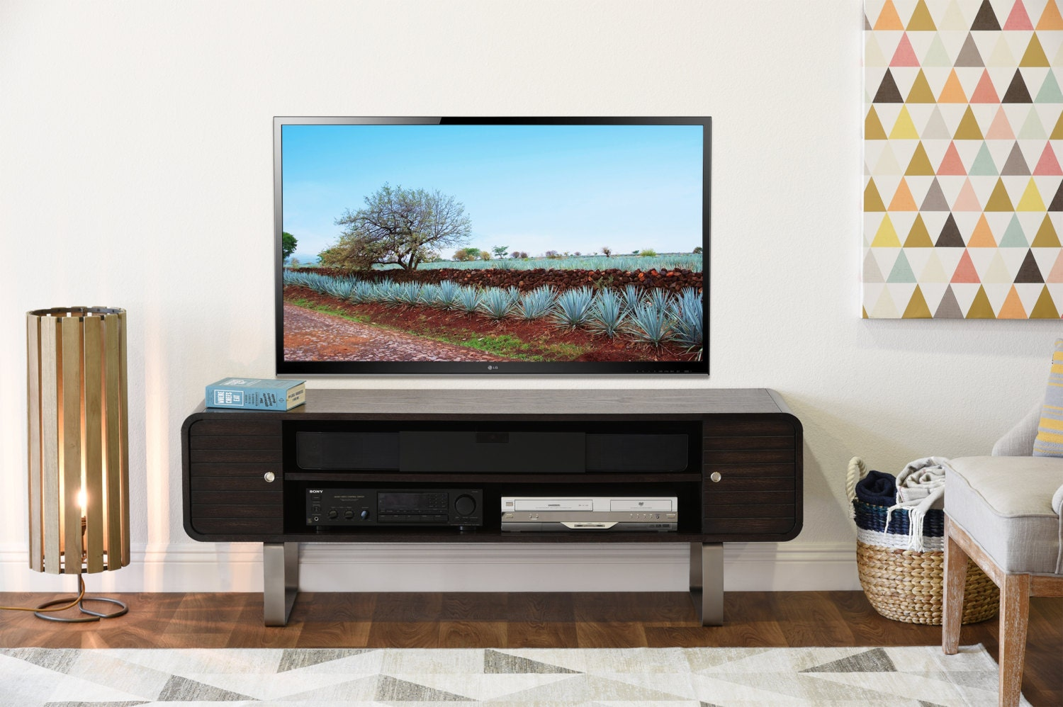 curved mid century modern tv stand radius by woodwavesinc. Black Bedroom Furniture Sets. Home Design Ideas
