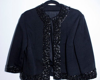 VINTAGE 80s Goth Glam Rock Retro Black Cropped Jacket with Sequin embellishment detail. Size 10