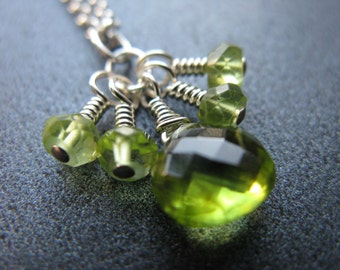 Peridot Cluster Necklace, Green Gemstone Necklace, Sterling Silver, Bridal Jewelry, August Birthstone, Petite Gems Collection - Spring Green