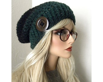 Green Slouch Hat, Chunky Beanie, Knit Hat, Women's Slouchy Beanie, Crocheted Hat, Green & Black, Winter Fashion Accessory,