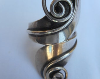Vintage Wrap Ring , R. Cazares Taxco Mexico , 925 Sterling Silver , Size 6