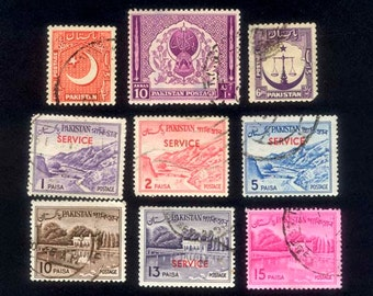 Pakistan - 1950's Postage Stamps - Collage, Mixed Media, Artist Trading Cards