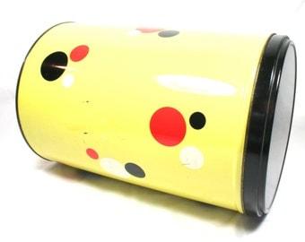 Mid Century Atomic Tin Large Dutch Tin Yellow Red Black White Argo Holland Europe