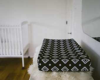 Change Pad Cover - aztec, black and white, gender neutral, jersey knit