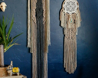 Large, hand knitted bohemian Dreamcatcher