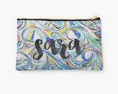 Personalized Wave Print Pouch in white- choice of size, personalized makeup bag, monogrammed pouch, monogram, monogram gifts, name pouch