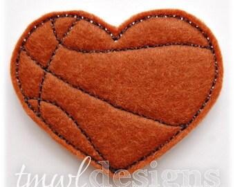 "Basketball Heart Feltie Digital Design File - 1.75"""