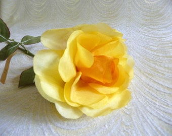 Vintage Silk Rose Shaded Yellow Long Stem for Hats, Fascinators, Weddings, Floral Arrangements NOS Millinery Germany